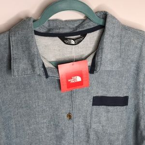 The North Face Tops - Long Sleeve Oversized North Face Blue Flannel NWT